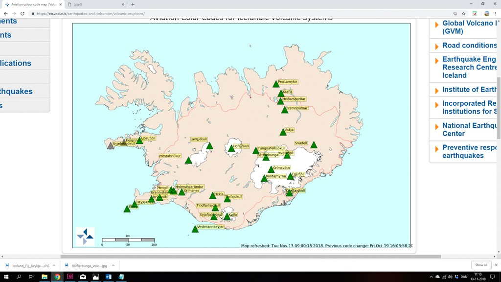 Vulkan varsling af Islands Met office